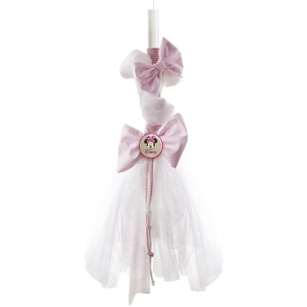 CHRISTENING CANDLE MINNIE WHT FABRIK PINK BOW PRS