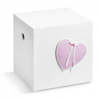 CHRISTENING WHT WOODEN BOX PINK HEART PRS