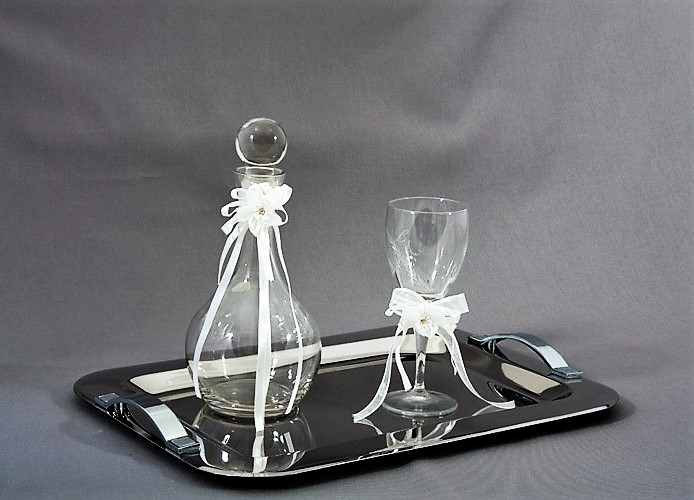 WEDDING BESTMEN SET DECO TRAY GLASS BOTTLE