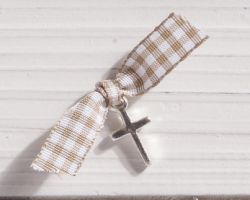 CHRISTENING CROSS METALLIC SQUARE RIBBON PRS
