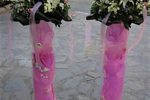 CHRISTENING DECO MARYS FLOWERS PLEXI COLUMN PINK
