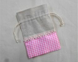 CHRISTENING FAVOR LINIEN-PINK CART BAG PLM 23243