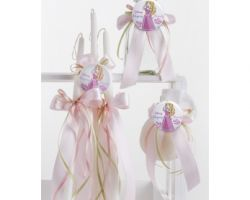 CHRISTENING GIRLS SET BOTTLE CANDLES SOAP PRS3
