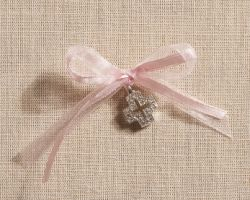 CHRISTENING METALLIC CROSS WITH PINK RIBBON PRS1