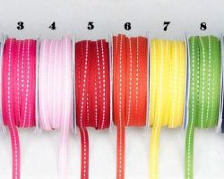 RIBBON W LINE STITCH COLOURED