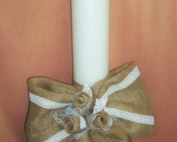 WEDDING CANDLES ROUND 12 CM LACE BURLAP FLOWERS