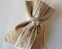 WEDDING FAVOR POUCH LINIEN LACE RIBBON
