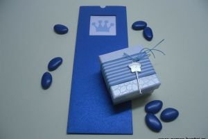 CHRISTENING BLUE CROWN INVITATION BOX