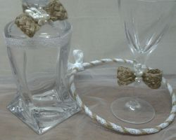 WEDDING BURLAP 1 BOTTLE-GLASS
