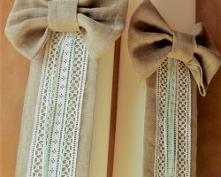 WEDDING CANDLES SQUARE CAMVAS BOW