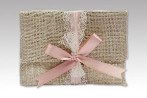 WEDDING FAVOR BURLAP FILE CLOSE OLD PINK