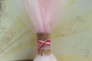 WEDDING FAVOR PNK WHT TULLE LACE RIBBON