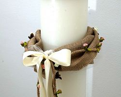 WEDDING ROUND CANDLE BURLAP STRING ARTFLOWERS